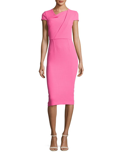Burfield Origami Wool Crepe Sheath Dress, Pink