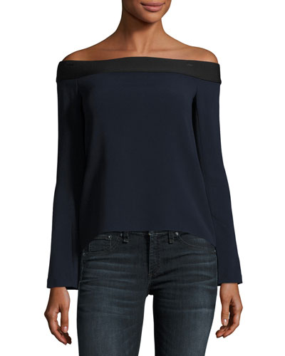 Heaney Off-the-Shoulder Flutter-Back Top
