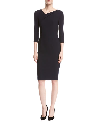 Asymmetric 3/4-Sleeve Sheath Dress, Navy