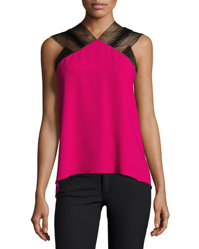 Dave Lace-Trim Drape-Back Top, Fuchsia