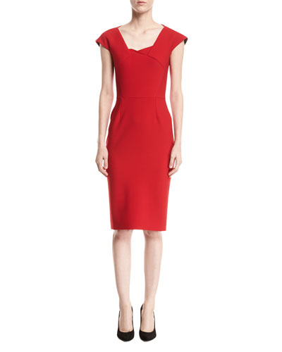 Hirta Cap-Sleeve Square-Neck Sheath Dress, Red