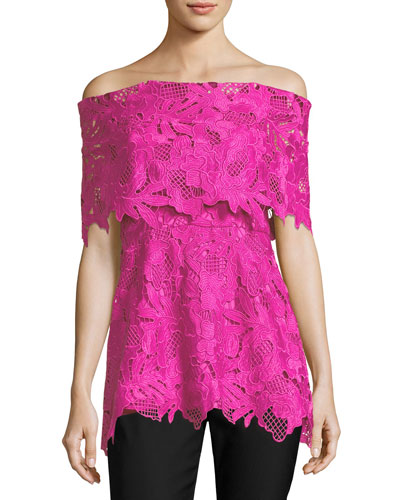 Guipure Lace Off-the-Shoulder Top