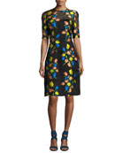 Holly Floral Fil Coupe Elbow-Sleeve Dress