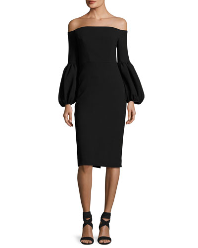 Off-the-Shoulder Full-Sleeve Sheath Dress