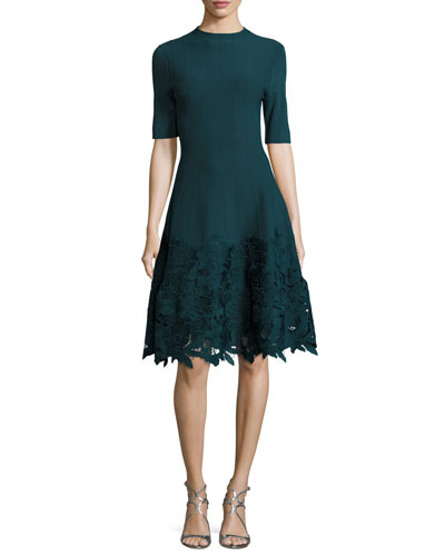 Ottoman Knit Dress with Lace Hem