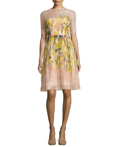 Floral Glossed Organza A-Line Dress