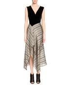 Dursley Striped-Skirt Midi Dress