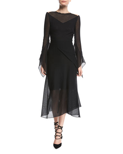 Asterleigh High-Neck Long-Sleeve Bias-Cut Mesh Dress