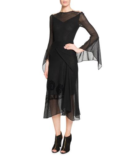 Asterleigh Draped Bias-Cut Dress