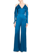 Soham Satin Cold-Shoulder Jumpsuit