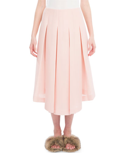 Box-Pleated Midi Skirt