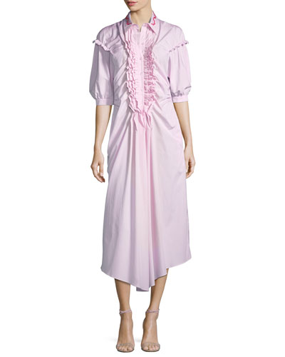Puff-Sleeve Ruffled-Bib Poplin Midi Dress