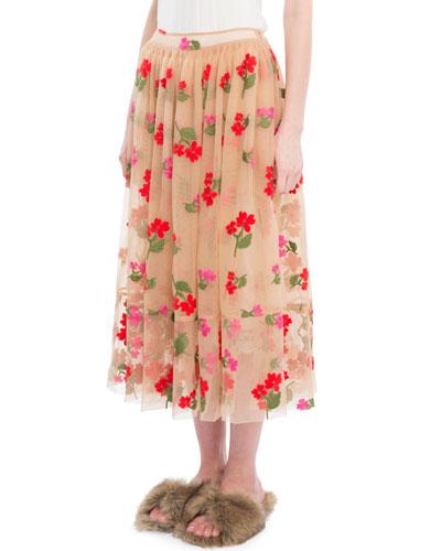 Floral-Embroidered Full Midi Skirt