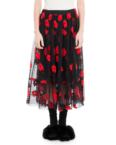 Floral-Embroidered Tulle Midi Skirt