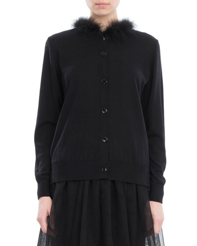 Feather-Trim Merino-Silk-Cashmere Cardigan, Black