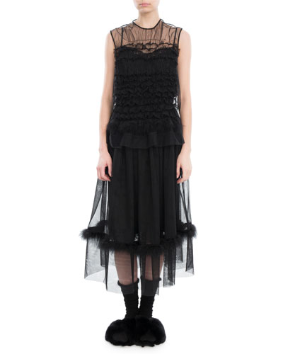 Ruffled Tulle Feather-Trim Midi Dress