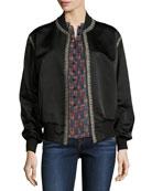 Embroidered Silk Satin Reversible Bomber Jacket