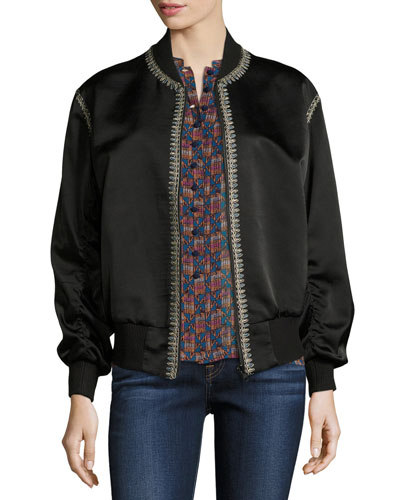 Embroidered Silk Satin Reversible Bomber Jacket