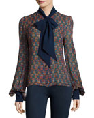 Geometric-Print Tie-Neck Silk Shirt