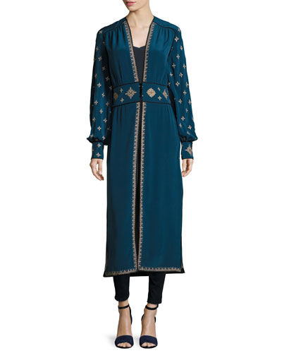 Tabia Cross-Embroidered Silk Crepe Robe Jacket