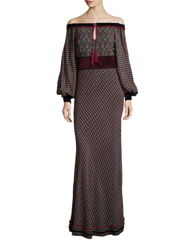 Off-the-Shoulder Printed Georgette Maxi Dress