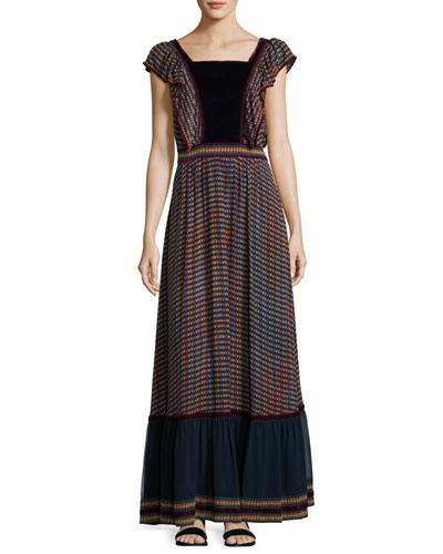 TALITHA Printed Silk Georgette Maxi Dress in Black Multi