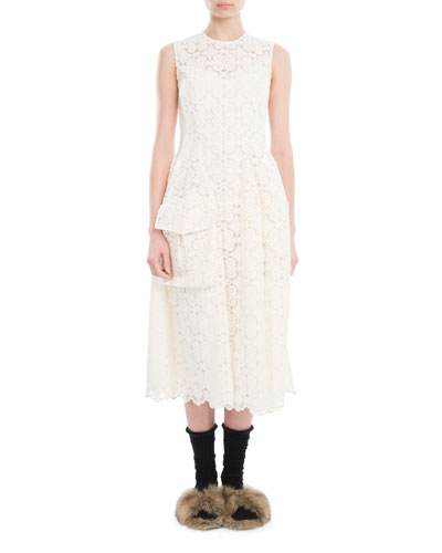 Sleeveless Organdy Lace Midi Dress, Ivory