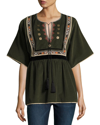 Embroidered Corduroy Peasant Blouse