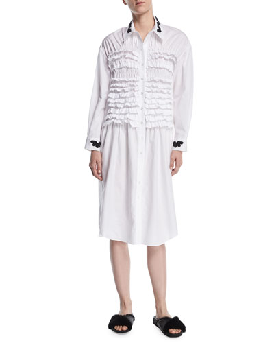 Embroidered Poplin Smocked-Front Shirtdress
