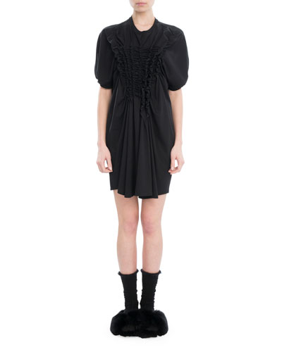 Smocked Poplin T-Shirt Dress