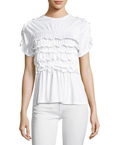 Shirred Cotton Frill T-Shirt