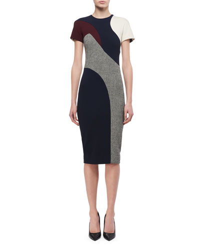 Short-Sleeve Patchwork Sheath Dress