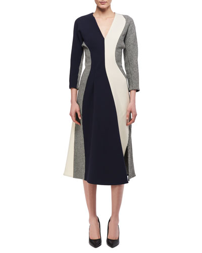 3/4-Sleeve Paneled Midi Dress, Multicolor
