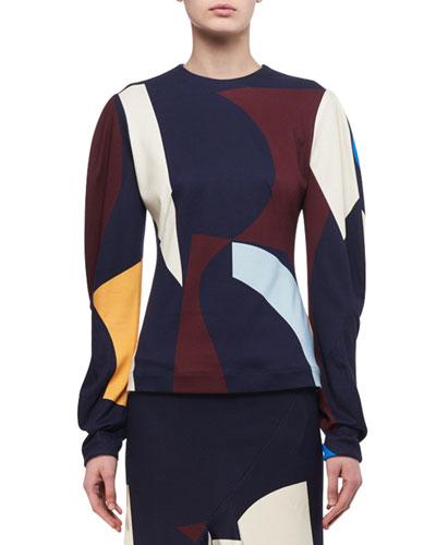 Abstract-Print Drape-Sleeve Top