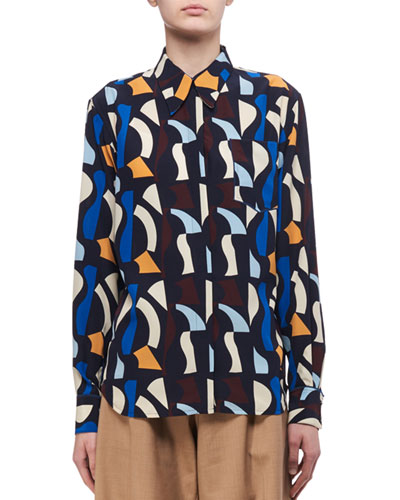 Patch-Pocket Abstract-Print Silk Shirt