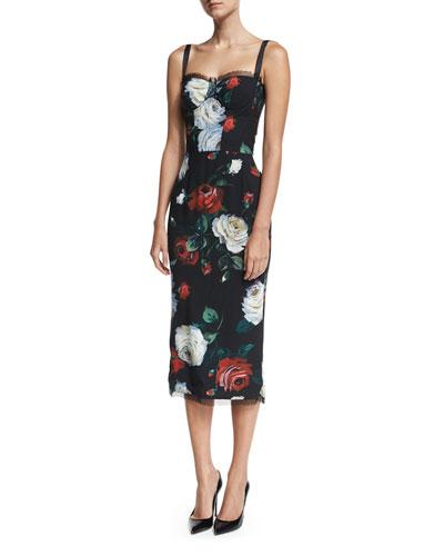 Rose-Print Bustier Cocktail Sheath Dress