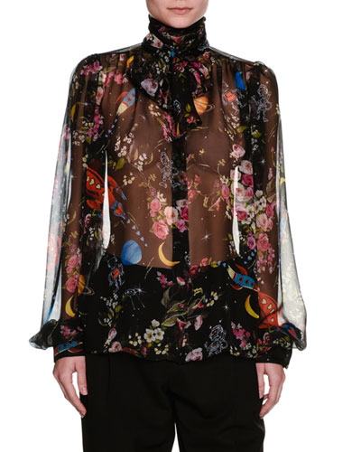 Rocket Ship Floral-Print Chiffon Blouse, Black