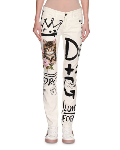 Graffiti & Cat Printed Skinny Jeans, White