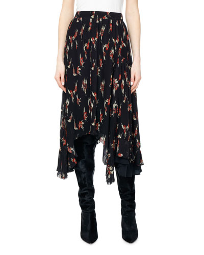 Wilny Birds of Paradise Plisse Midi Skirt