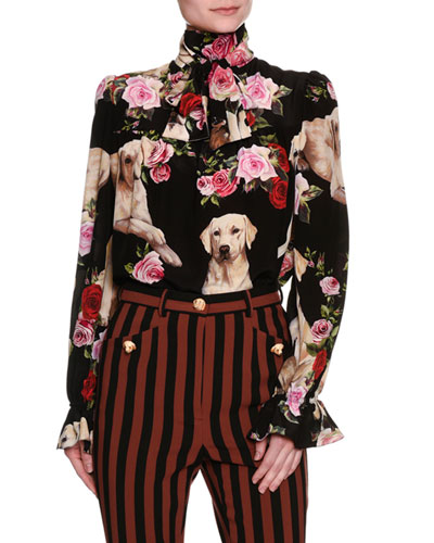 Floral & Golden Retriever Silk Tie-Neck Blouse, Black