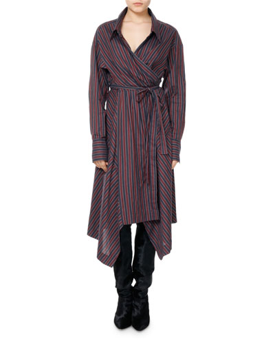 Mila Striped Cotton Wrap Shirtdress