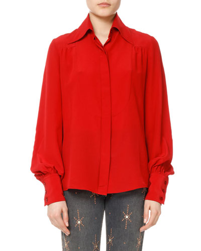 Salina Silk Bishop-Sleeve Shirt