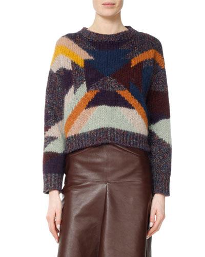 Cadelia Southwestern Intarsia Cropped Sweater