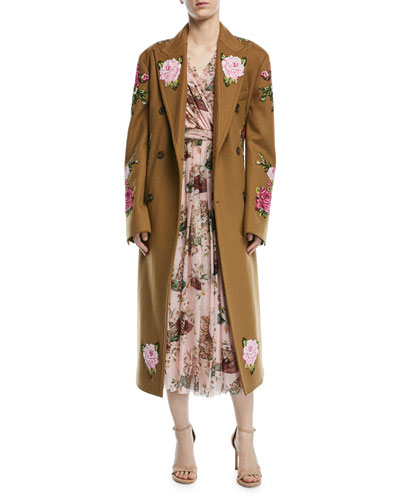 Rose-Embroidered Double-Breasted Wool-Alpaca Coat, Camel