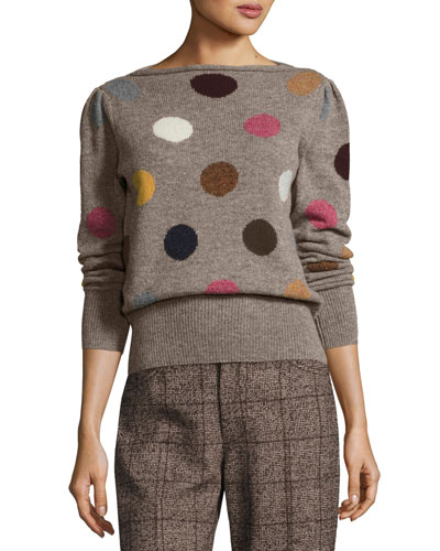 Polka Dot Intarsia Wool Sweater