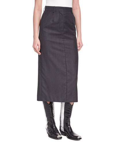 Plaid Wool-Silk Midi Skirt