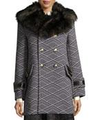 Geo-Diamond Techno Coat with Fur Collar