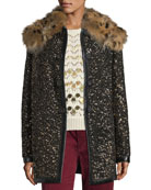 Hammered-Sequin Coat with Fur Collar