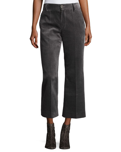 Cropped Wide-Leg Corduroy Pants
