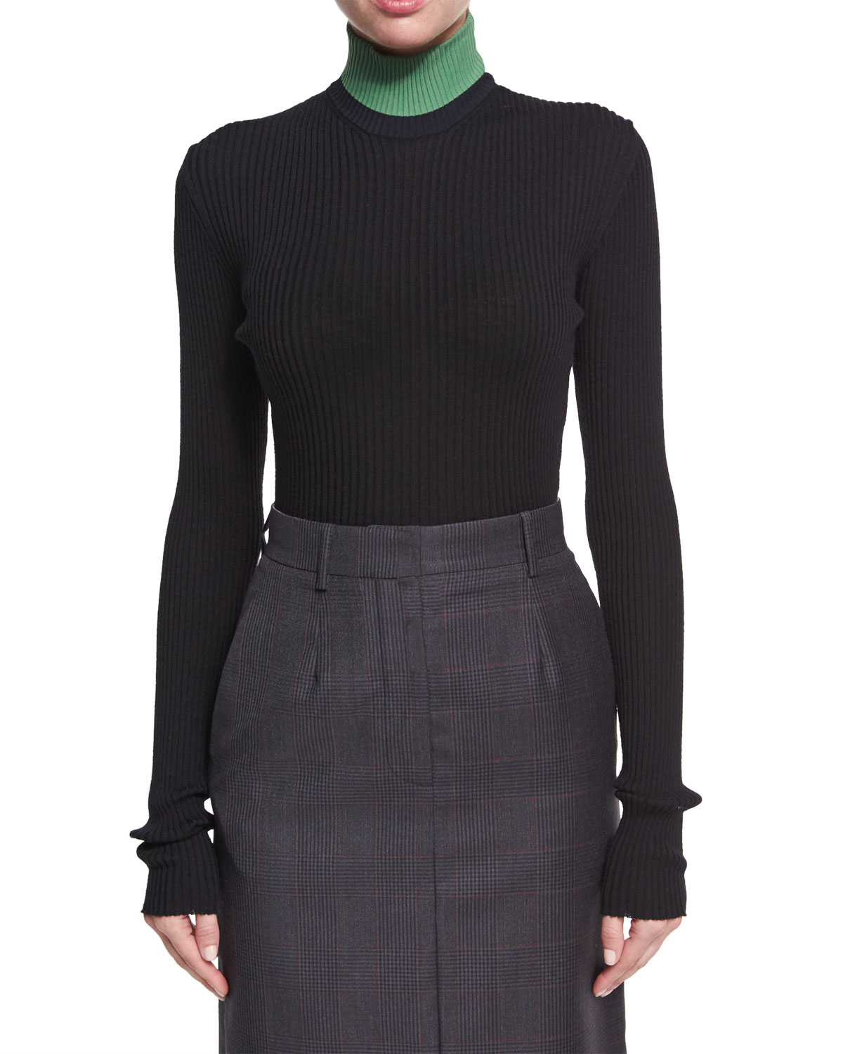 Colorblock Ribbed Turtleneck Sweater